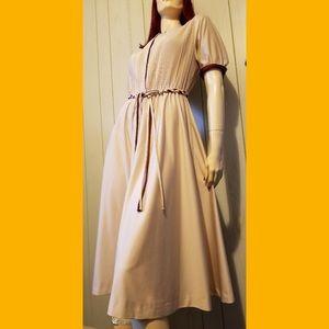 VTG 70s Braided Fringe Belt Disco BOHO Midi Dress